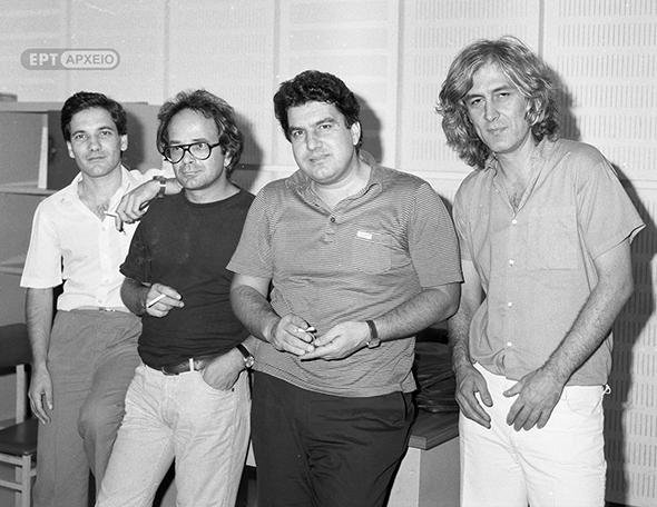 Λουκιανός Κηλαηδόνης, Γιάννης Κοντός, Θανάσης Νιάρχος κατά τη διάρκεια ραδιοφωνικής εκπομπής, δεκαετία 1980