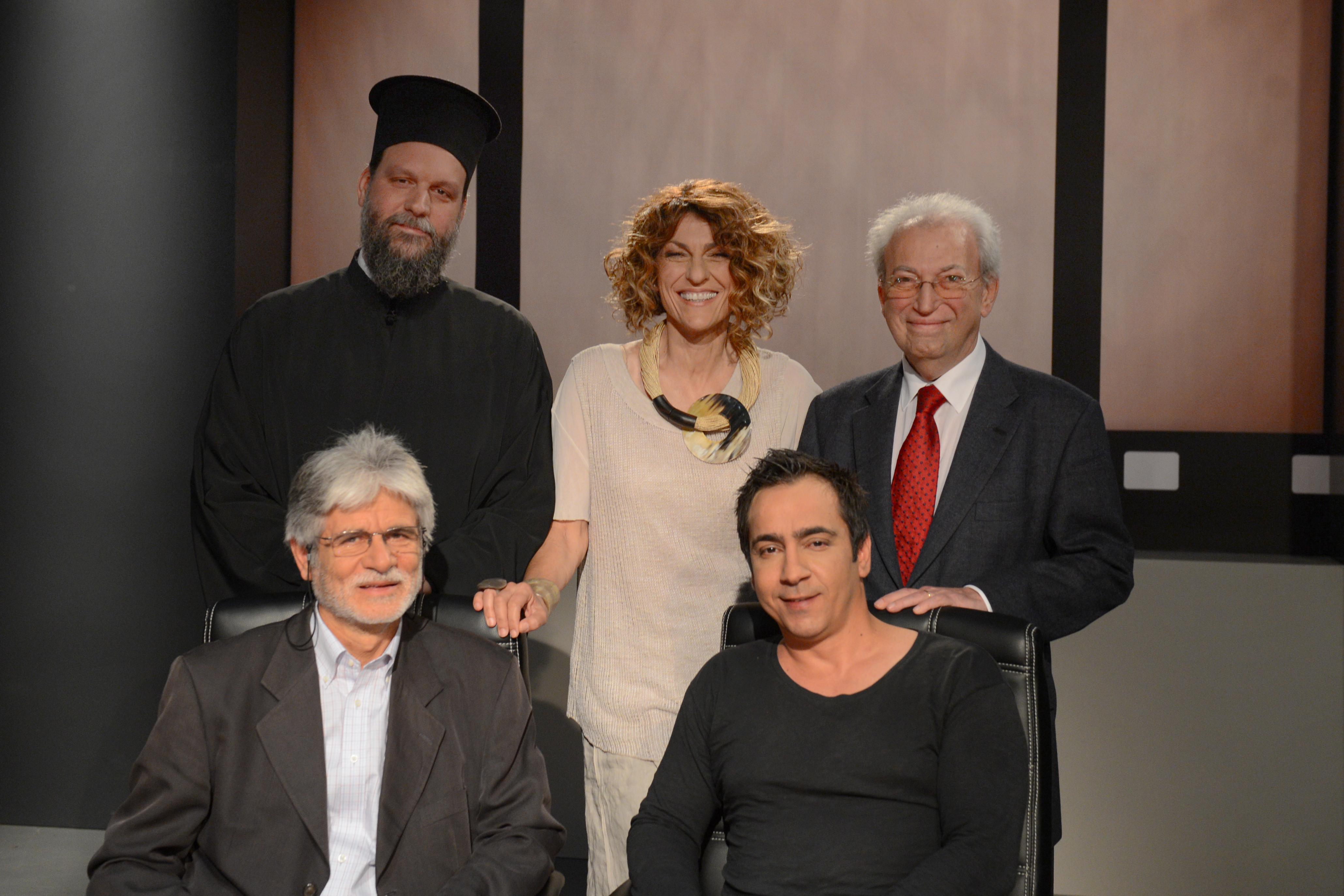 Καθιστοί από αριστερά: Γιάννης Δημολιάτης και Αντώνης Τολάκης. Όρθιοι από αριστερά: Μητροπολίτης Νέας Ιωνίας και Φιλαδελφείας Γαβριήλ, Μαρία Κουφοπούλου και Νίκος Φραγκάκης.