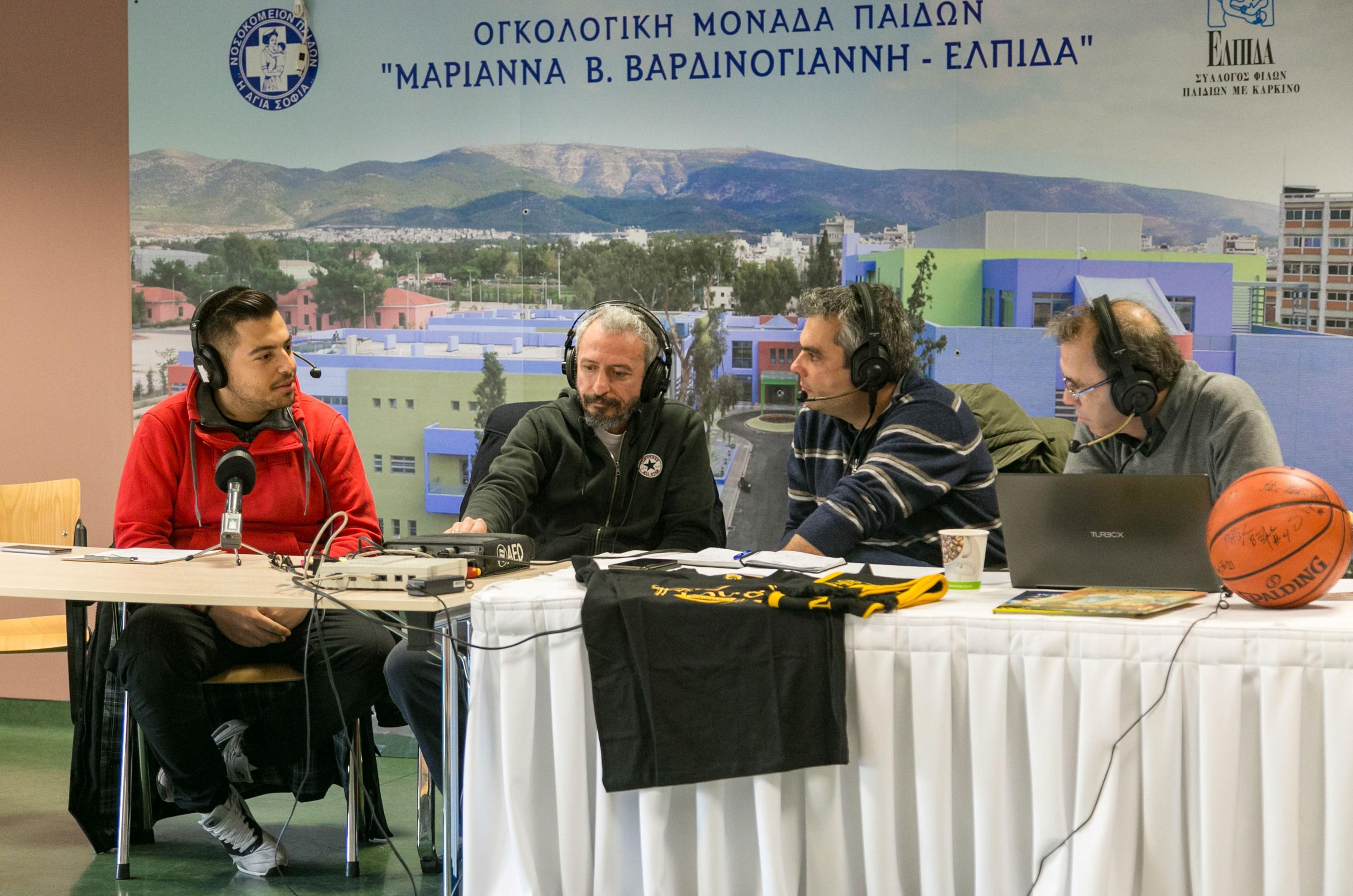 Ο Παναγιώτης Κόκκινος με τους Μπάμπη Παπαζόγλου, Πέτρο Μαυρογιαννίδη και Σάκη Ευθυμιόπουλο