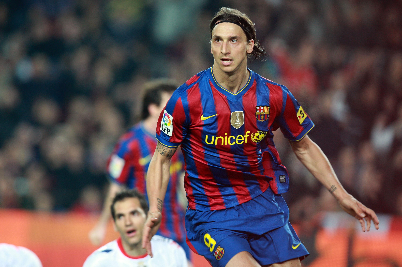 100324 Fotboll, spansk, La Liga, Barcelona - Osasuna: Zlatan Ibrahimovic, Barcelona, glŠdje, jubel efter mŒl. © BildbyrŒn - Cop 30 SWEDEN ONLY