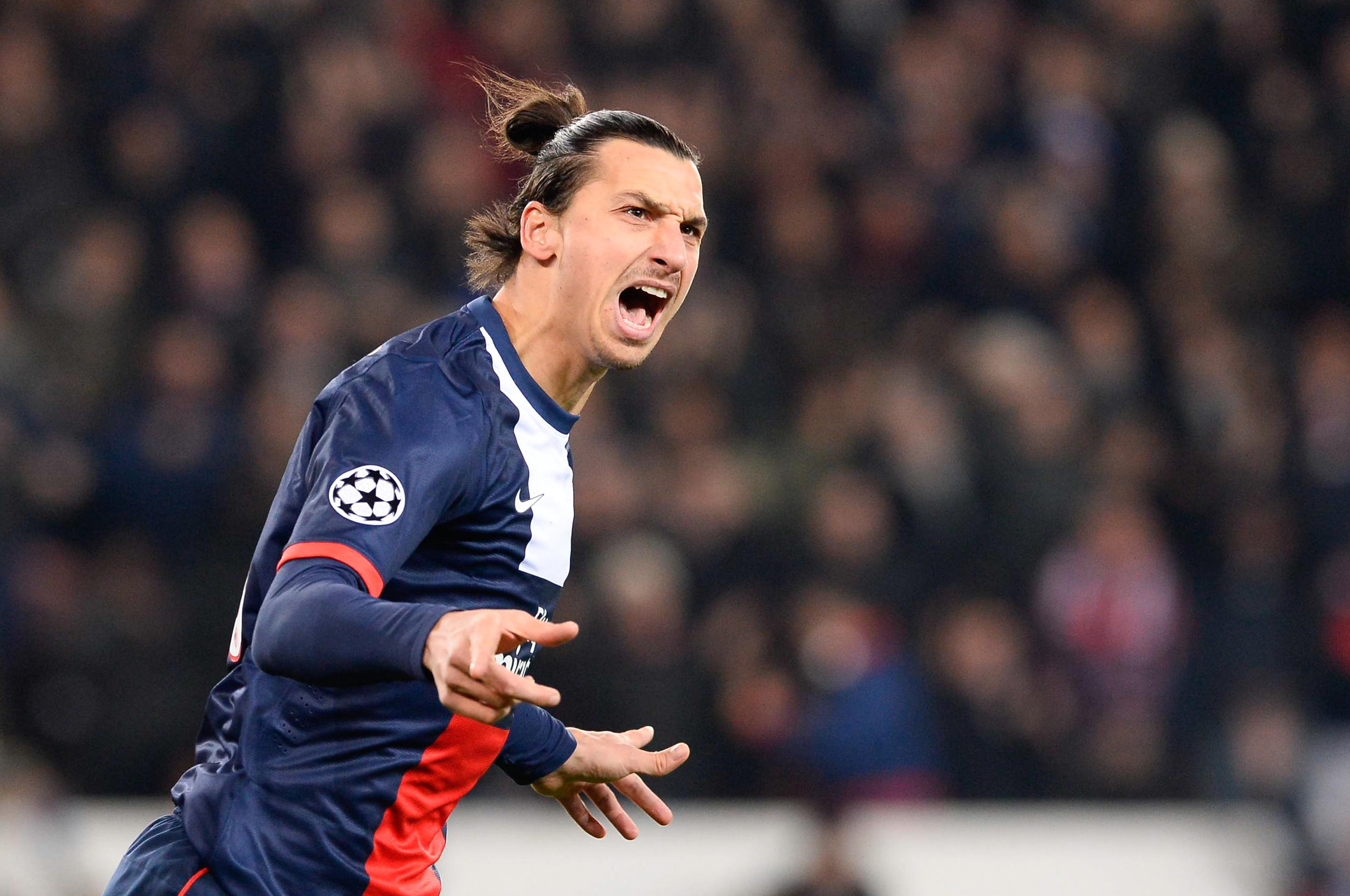131127, Fotboll, Champions League, PSG - Olympiakos: Joie Zlatan IBRAHIMOVIC - 27.11.2013 - Paris Saint Germain / Olympiakos - Champions League Photo : Fred Porcu / Icon Sport © BildbyrŒn - COP 75 - SWEDEN ONLY