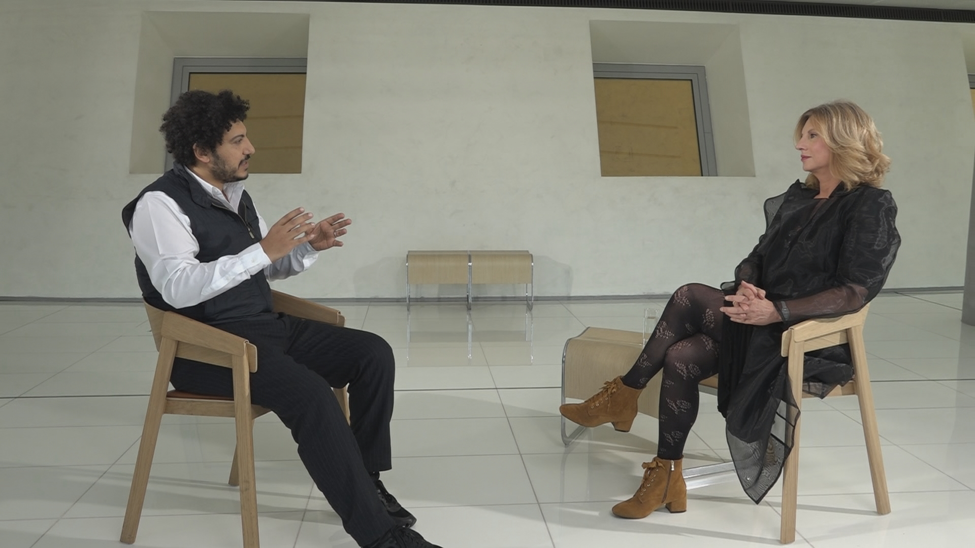 Ο Wael Shawky με την Κατερίνα Ζαχαροπούλου