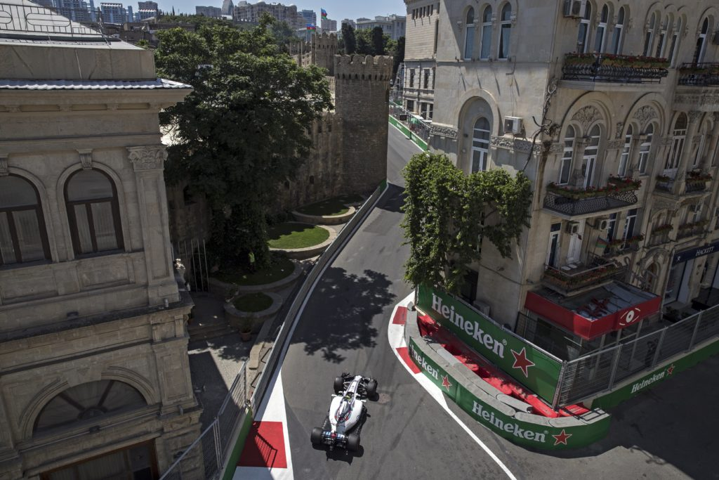 epa06047813 Canadian Formula One driver Lance Stroll of Williams steers his car during the third practice session of the Formula One Grand Prix of Azerbaijan at the Baku City Circuit, in Baku, Azerbaijan 24 June 2017. The 2017 Formula One Grand Prix of Azerbaijan will take place on 25 June. EPA/VALDRIN XHEMAJ